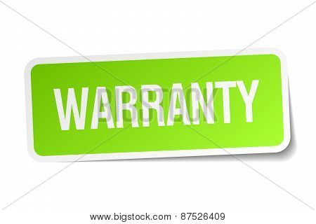 Warranty Green Square Sticker On White Background