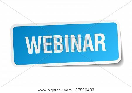 Webinar Blue Square Sticker Isolated On White