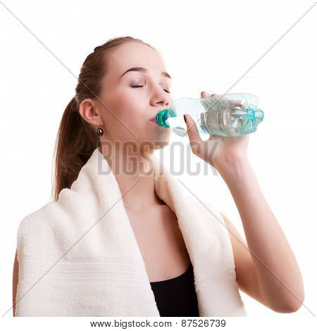 Slim Sport Girl With Bottle Of Water And Towel