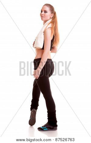 Woman Full Body In Sports Wear Isolated Over White