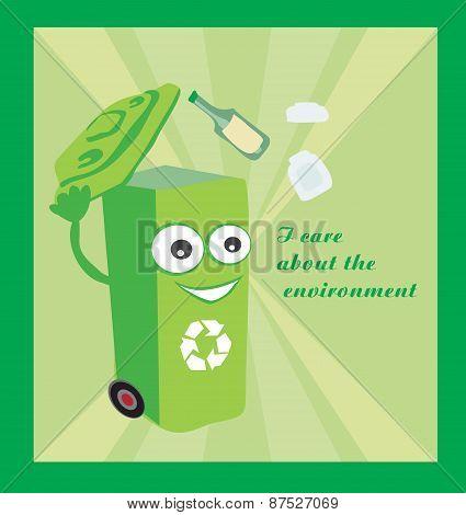A Vector Cartoon Representing A Funny Recycling Bin