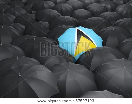 Umbrella With Flag Of Saint Lucia
