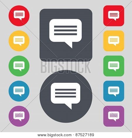 Speech Bubble, Chat Think Icon Sign. A Set Of 12 Colored Buttons. Flat Design. Vector