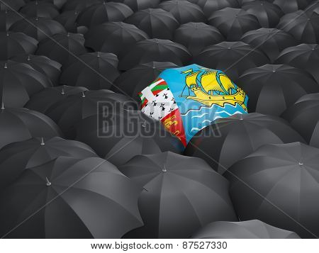 Umbrella With Flag Of Saint Pierre And Miquelon