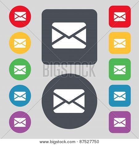 Mail, Envelope, Message Icon Sign. A Set Of 12 Colored Buttons. Flat Design. Vector