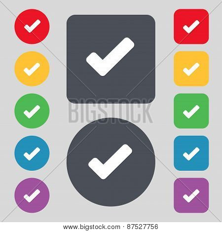 Check Mark, Tik Icon Sign. A Set Of 12 Colored Buttons. Flat Design. Vector