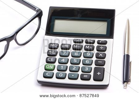 Calculator, Pen And Glasses Isolated
