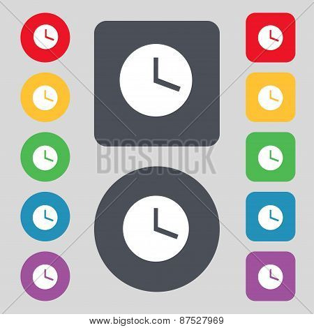 Mechanical Clock  Icon Sign. A Set Of 12 Colored Buttons. Flat Design. Vector