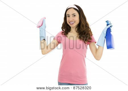 Spring Cleaning Woman With A Sponge And Spray Detergent