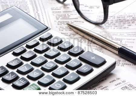 Calculator, Pen And Receipts