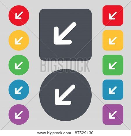 Turn To Full Screenicon Sign. A Set Of 12 Colored Buttons. Flat Design. Vector