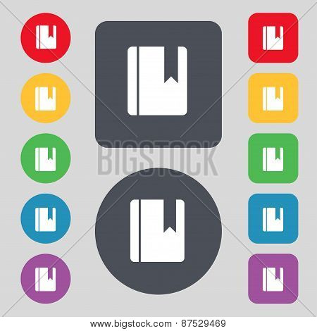 Book Bookmark Icon Sign. A Set Of 12 Colored Buttons. Flat Design. Vector