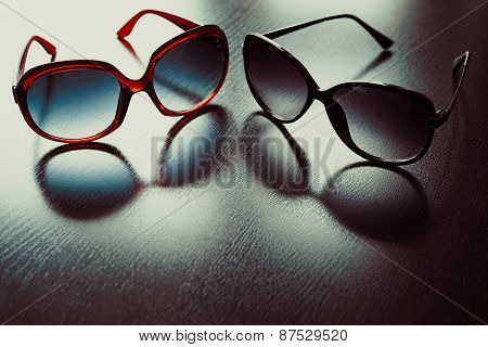 Fashionable Sunglasses. Vintage Stylized.
