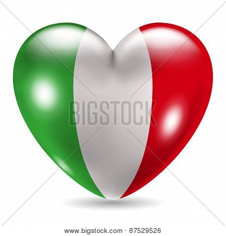 Heart Shaped Icon With Flag Of Italy