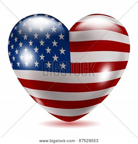 Heart Shaped Icon With Flag Of Usa