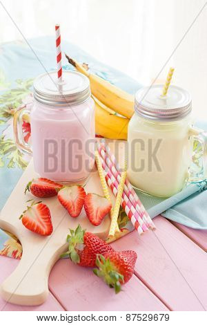 Milk With Fresh Strawberries And Bananas