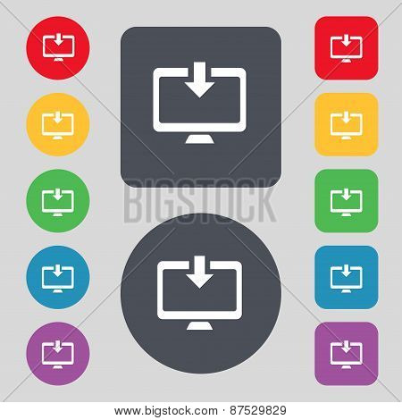 Download, Load, Backup Icon Sign. A Set Of 12 Colored Buttons. Flat Design. Vector