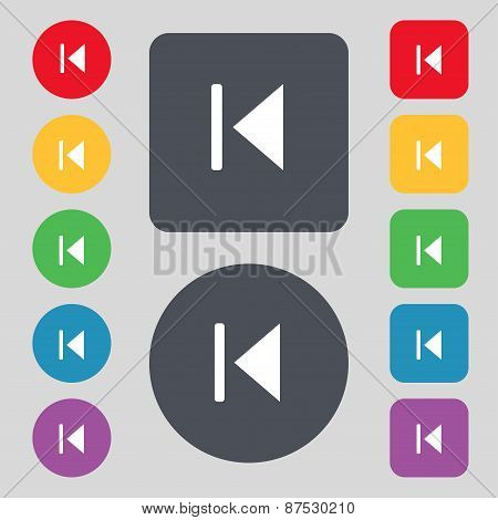 Fast Backward Icon Sign. A Set Of 12 Colored Buttons. Flat Design. Vector