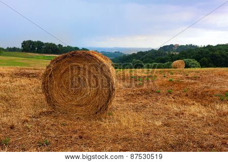 Roll Mown Hay On The Background Of The Hills Of Tuscany