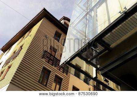 Line Of Modern School Buildings In Riga