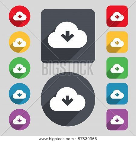 Download From Cloud Icon Sign. A Set Of 12 Colored Buttons And A Long Shadow. Flat Design. Vector