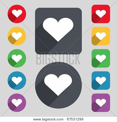 Heart, Love Icon Sign. A Set Of 12 Colored Buttons And A Long Shadow. Flat Design. Vector