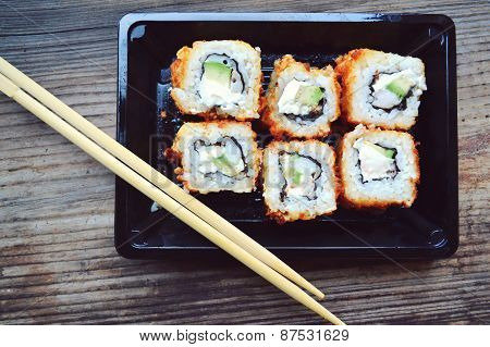 Delicious rolls and sushi with shrimp and cream cheese