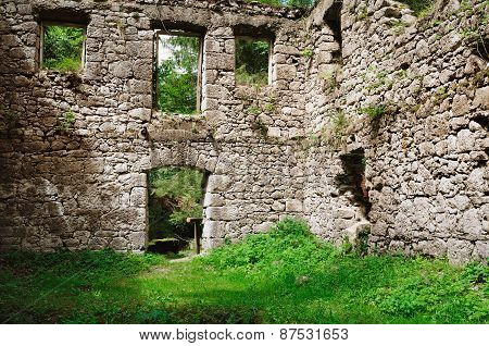Ancient Building In Vegetation