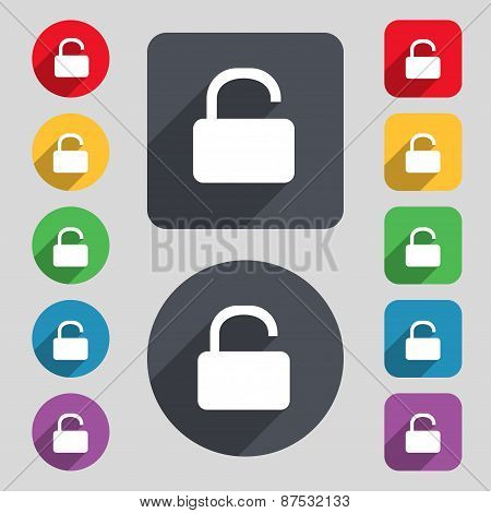 Open Padlock Icon Sign. A Set Of 12 Colored Buttons And A Long Shadow. Flat Design. Vector