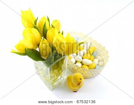 Isolated yellow Easter decoration