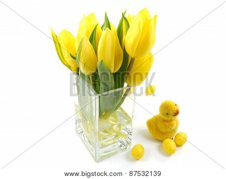 Isolated Easter decoration with flowers