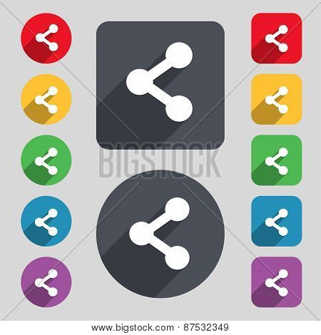 Share Icon Sign. A Set Of 12 Colored Buttons And A Long Shadow. Flat Design. Vector