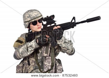 Us Soldier With Rifle