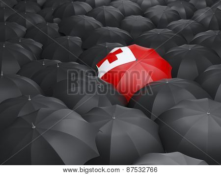 Umbrella With Flag Of Tonga