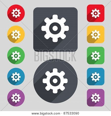 Cog Settings, Cogwheel Gear Mechanism Icon Sign. A Set Of 12 Colored Buttons And A Long Shadow. Flat