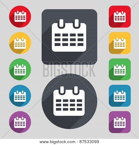 Calendar, Date Or Event Reminder  Icon Sign. A Set Of 12 Colored Buttons And A Long Shadow. Flat Des