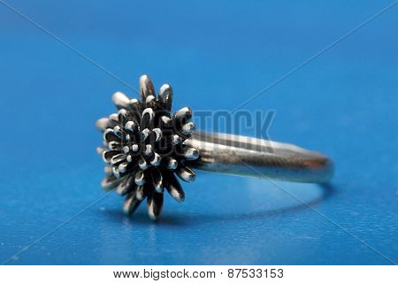 Beautiful Silver Ring Photographed Close-up