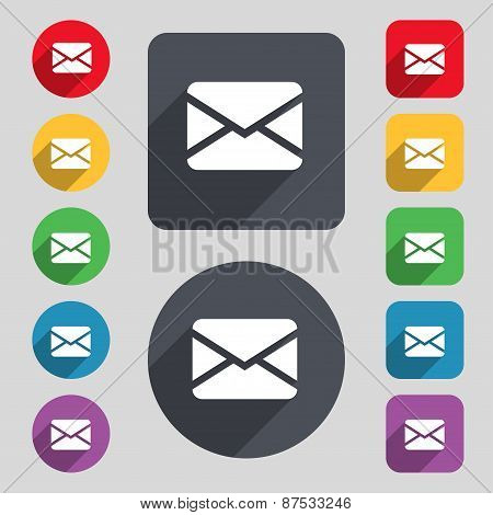 Mail, Envelope, Message Icon Sign. A Set Of 12 Colored Buttons And A Long Shadow. Flat Design. Vecto