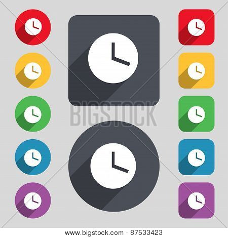 Mechanical Clock  Icon Sign. A Set Of 12 Colored Buttons And A Long Shadow. Flat Design. Vector