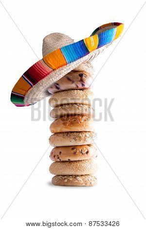 Piled Bagels With Mexican Hat On The Top
