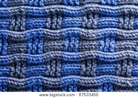 Woven Crochet In Blue Gray With Horizontal Ridges
