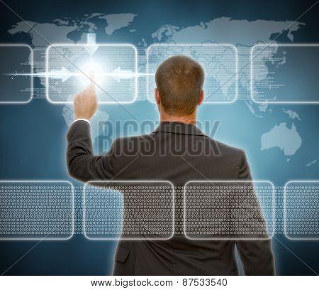 Businessman Using Multimedia Interface