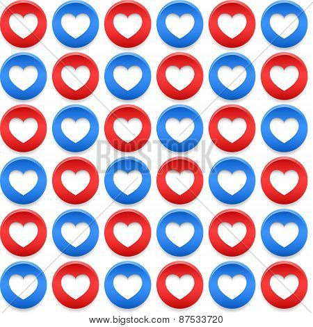 American Seamless Pattern With Circles And Hearts