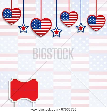 American Background With Hanging Hearts And Stars