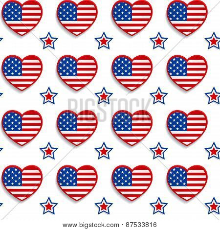 American Seamless Pattern With Hearts And Stars