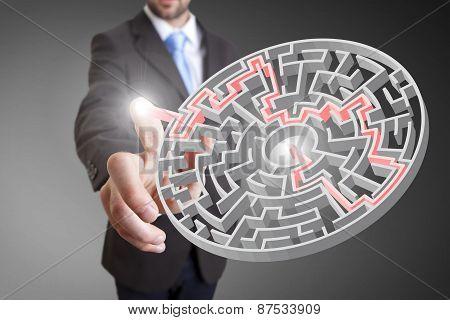 Businessman Playing With Digital Maze