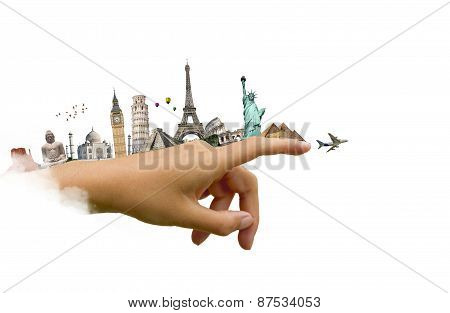 Monuments Of The World On A Woman Hand