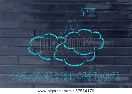 Overcome Your Obstacles Illustration With Paper Airplane, Metaphor Of Success