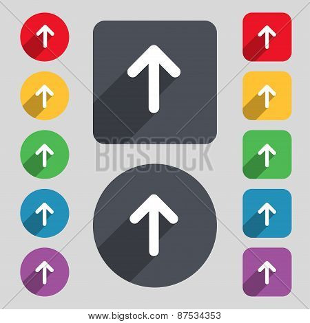 Arrow Up, This Side Up Icon Sign. A Set Of 12 Colored Buttons And A Long Shadow. Flat Design. Vector