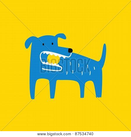 Blue Dog With A Ball In His Mouth, Vector Illustration